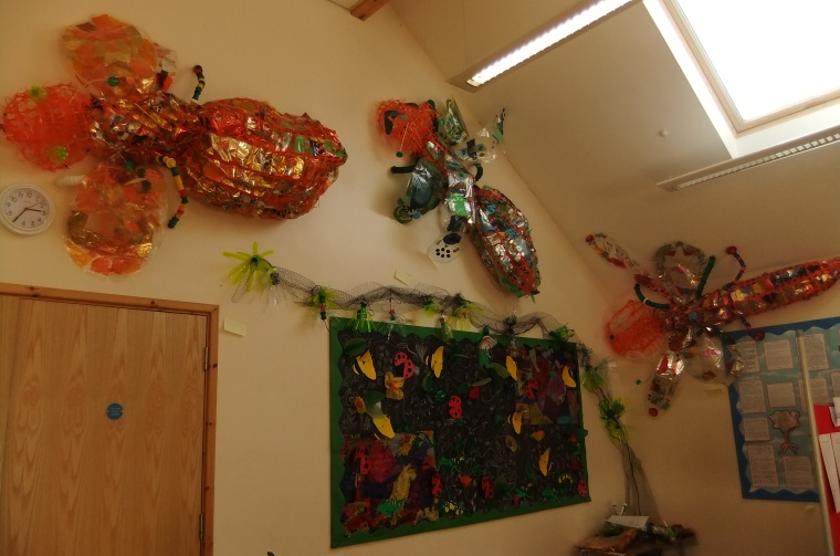 Giant minibeasts from recycled plastics at Forest academy