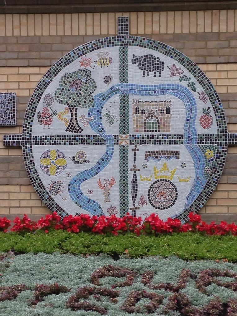 mosaic, community art, abbey gardens, bury st edmunds, magna carta
