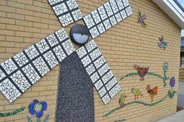 Abbotts Hall mosaic designed and made by the children