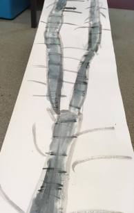 Very long scroll drawing of twigs