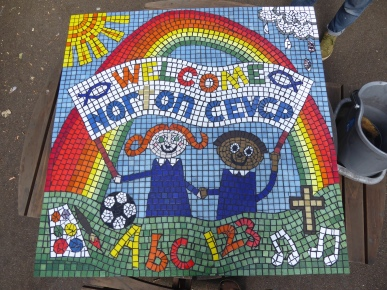Norton School mosaic made with 220 children